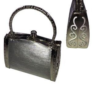 Victoria embellishment silver mini hand bag
